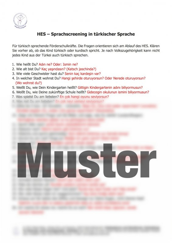 (3) HES-türkisch Fragebogen mit türkischer Übersetzung 1 Stück